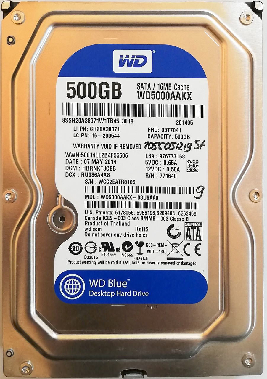 "Жесткий диск для компьютера Western Digital 500GB 3.5"" 16MB 7200rpm 6Gb/s (WD5000AAKX) SATA-III Б/У"