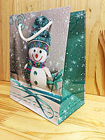 Новогодний пакет лимитированный 17,5х14х9 Снеговик (PEN - 1606)
