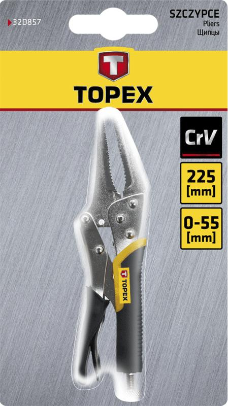 Кліщі затискні подовжені, 225 мм, 32D857, Topex