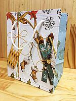 Новогодний пакет лимитированный 17,5х14х9  Лыжи сани (PEN - 1603)