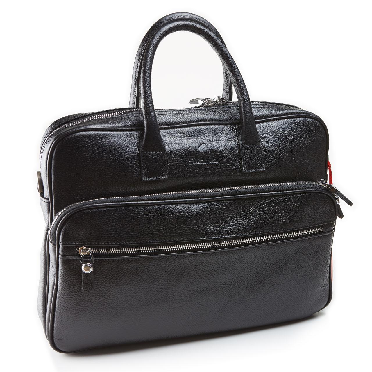 Чоловічий портфель сумка Eminsa 7008-37-1 з м'якої шкіри чорний