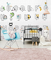 Панно в детскую дизайнерское Азбука абетка милые животные Animal ABC 300 см х 280 см