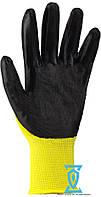 Перчатки рабочие стрейчевые покрытые гладким нитрилом (желто-черные)