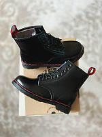 Женские кожаные зимние ботинки черные Dr Martens 1460 Black Red (Доктор Мартенс 1460 черно-красные)
