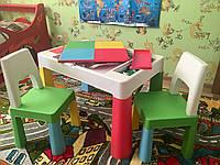 Детский столик с двумя стульчиками для творческих занятий, игр с Lego, водой и песком, Польша