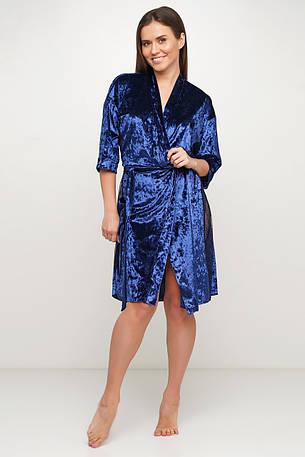 Удлиненный синий велюровый  халатик  Orli, фото 2