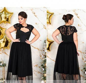 / Размер 48,50,52 / Женское изящное платье большого размера с кружевом 183Б-Черный