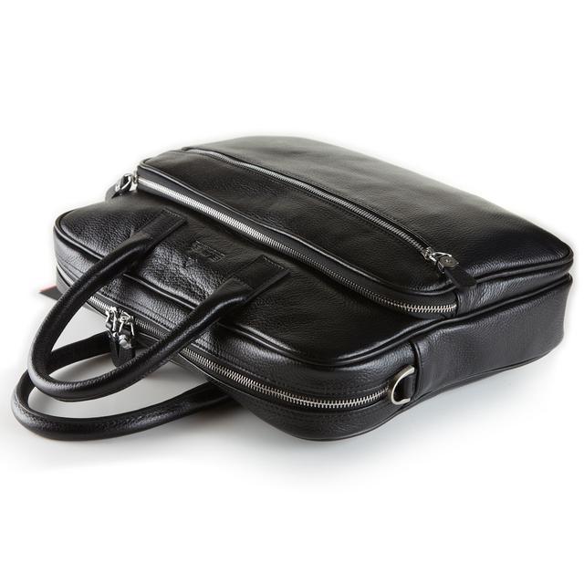 Мужской портфель сумка Eminsa 7008-37-1 из мягкой кожи черный