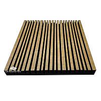 «Stripes» 50 мм (50*50 см) звукопоглощающая акустическая панель. Цвет: дуб