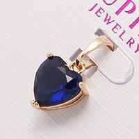 Кулон Xuping G-818 очень красивый оригинальный золотистый с синим камнем