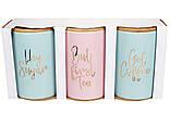 Набор (3шт) керамических банок 800мл с бамбуковыми крышками Tea Time, цвет - мятный и розовый c золотом, фото 2