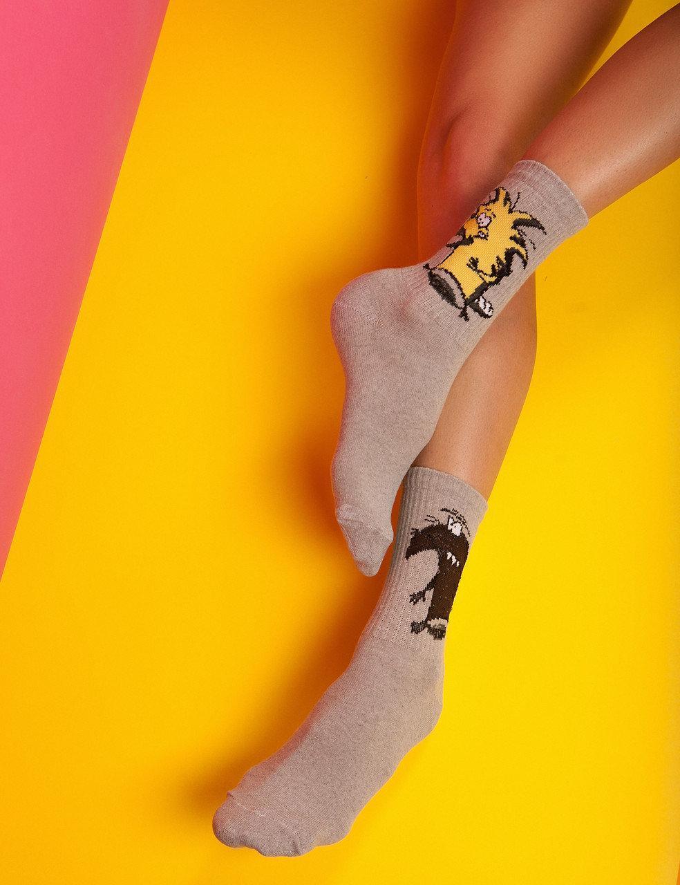 """Ароматизированный носки мужские высокие с принтом """"Бобры"""" Premium"""