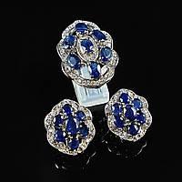 Комплект вечерних серебряных ювелирных украшений кольцо серьги  с натуральным сапфиром и фианитами