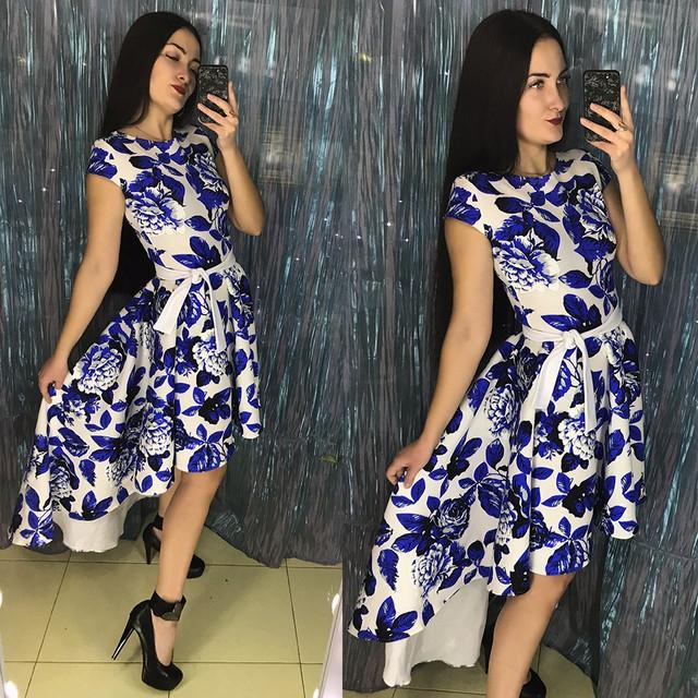 Асимметричное платье из неопрена с цветочным принтом