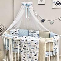 """Комплект в ліжечко (бортики - подушки) Baby Design """"City"""" для круглої ліжечка-трансформер"""