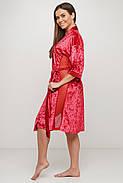 Красный женский бархатный  халат, фото 2