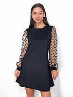 Платье женское с рукавами из сетки в горошек, фото 1