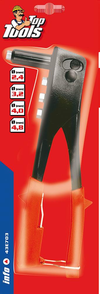Закльопник для алюмінієвих заклепок 2.4, 3.2, 4.0, 4.8мм, 43E703, Top Tools