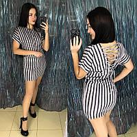 Стильное полосатое платье со шнуровкой на спине