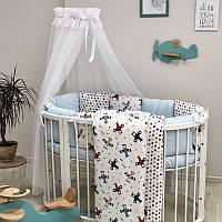 """Комплект в ліжечко (бортики - подушки) Baby Design """"Аероплан"""" для круглої ліжечка-трансформер"""
