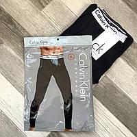 Термокальсоны мужские хлопок Calvin Klein, двухслойные, чёрные, L-3XL размеры, CK001