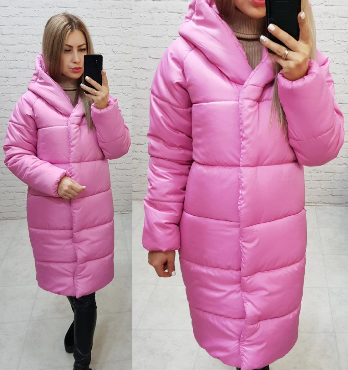 НОВИНКА! Куртка  Oversize зимняя, артикул 530, цвет ультра розовый