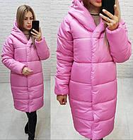 НОВИНКА! Куртка  Oversize зимняя, артикул 530, цвет ультра розовый, фото 1