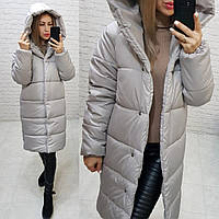 НОВИНКА! Куртка  Oversize зимняя, артикул 530, цвет платиновый серый