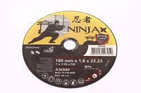 Диск отрезной по металлу и нерж стали ninja тм  o=180х22.23 мм t=1.6 мм(про-во VIROK), артикул 65v180