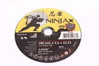 Диск отрезной по металлу и нерж стали ninja тм  o=180х22.23 мм t=2.0 мм(про-во VIROK), артикул 65v182
