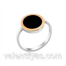 Серебряное кольцо с золотой вставкой и ониксом