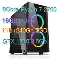 Мощный Игровой Компьютер 8 ядер AMD Ryzen 7 2700 4.1GHz/16Gb/1Tb+SSD240 /GTX1660Ti 6Gb Днепр магазин