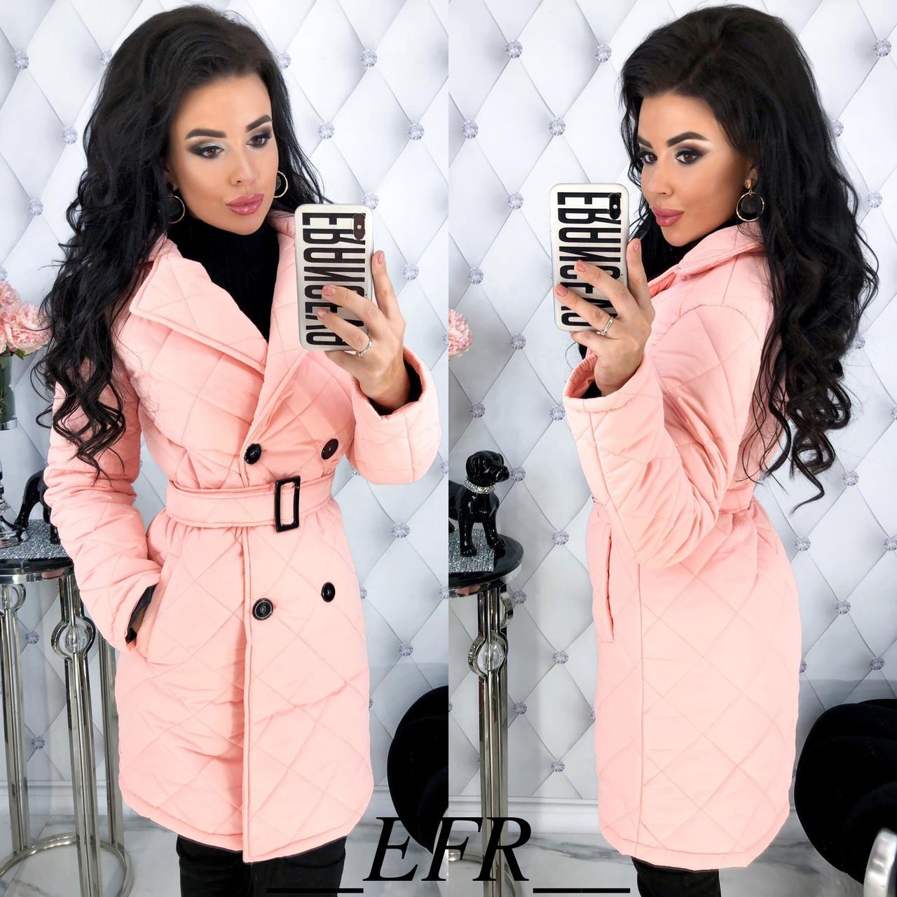 Куртка женская удлиненная из плащевки стеганая с отложным воротником (К29501)