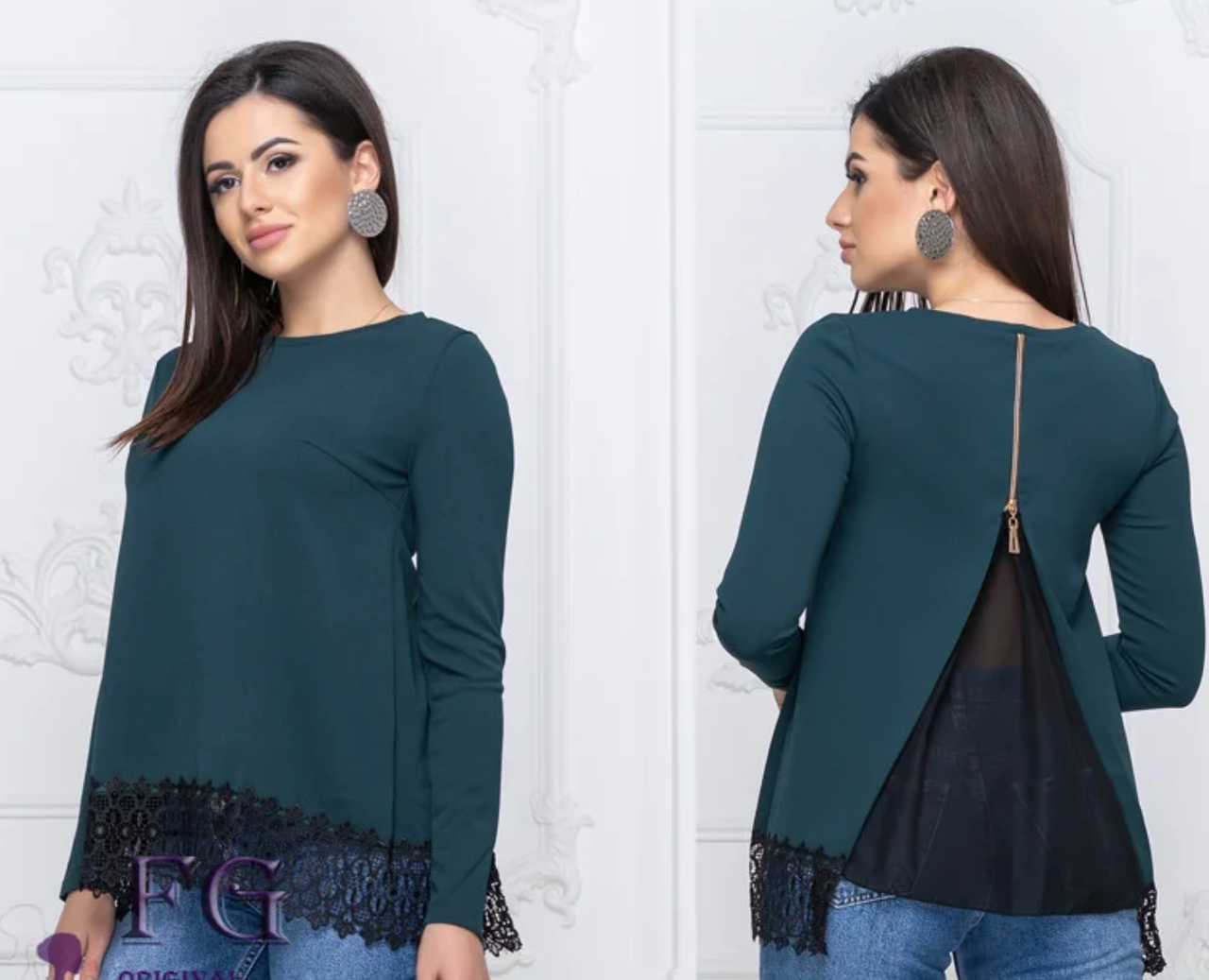 Элегантная блуза с шифоновой спинкой