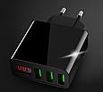 Зарядное для быстрой зарядки USB-устройств с LED  дисплеем, 3 порта, фото 7