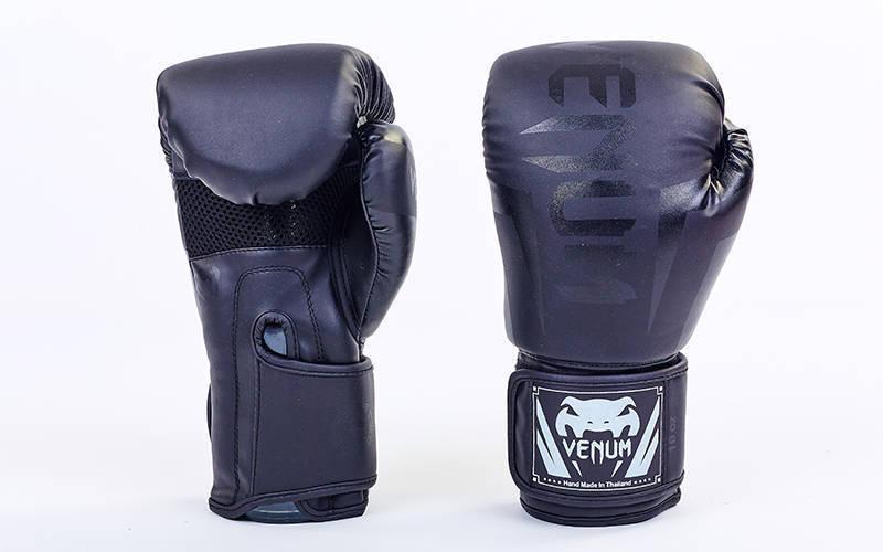Перчатки боксерские PU на липучке VENUM CHALLENGER BO-5698 Черный 12 унции