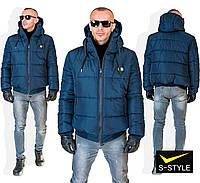 Мужская зимняя куртка с капюшоном на молнии