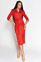Женское замшевое платье-миди по фигуре (Дианаjd)