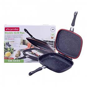 Сковорода-гриль двойная Kamille 32 х 24 х 7 см с литого алюминия с антипригарным покрытием серный мрамор для