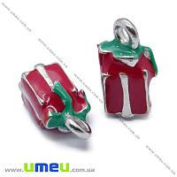 Подвеска металлическая Подарок красный, Темное серебро, 14х8 мм, 1 шт (POD-013381)