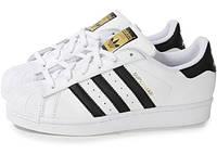 """Кроссовки мужские/женские Adidas SUPERSTAR white/black (нат.кожа) """"Белые"""" р. 36-45"""