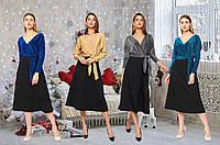 """Платье миди """"летучая мышь"""" с имитацией запаха /разные цвета, S-L, KR-5455/"""