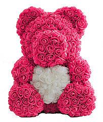 Мишка из роз 40 см - Розовый