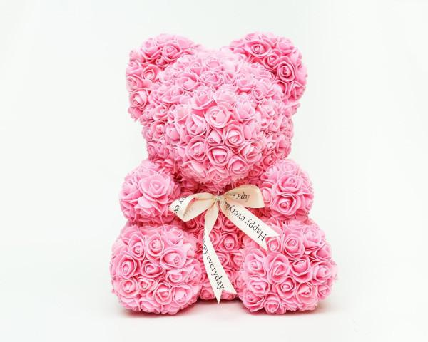 Мишка из роз 25 см - Светло-Розовый