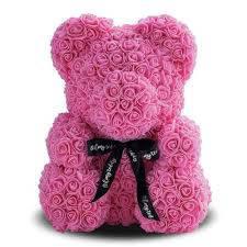 Мишка из роз 25 см - Розовый
