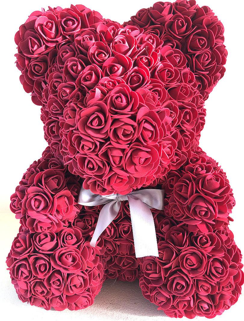 Мишка из роз 25 см - Бордовый