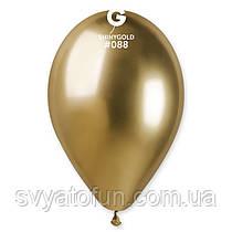 """Латексные воздушные шарики 13"""" хром 88 золото 10шт/уп Gemar"""
