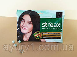 Краска для волос / Streax Hair Colour / Тёмно-коричневый / 20 г + 20 мл + 5 мл