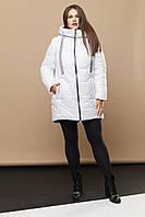 Женское зимняя теплая куртка миди 229 / размер 52-64 цвет БЕЛЫЙ