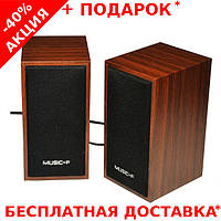 Компьютерные деревянные колонки акустика Music-F D09 с питанием от USB порта